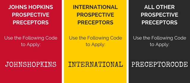 Use the Applicable Code to Complete Your Preceptor Application