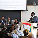 Moderator addresses panelists during PATIENTS Day 2017.